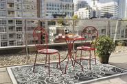 Patio Furniture Sets. This Red Steel-Framed Patio Bistro Set Is Perfect For Small Places Or On A Balcony. This Patio ...