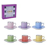 Espresso Cups with Saucers Set-12pc Set- Fine Porcelain with Nice Checker Design Mix Assorted Colors- 6 Cups and 6 Sa...