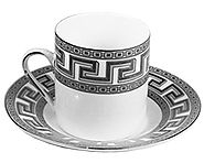 Porcelain Demitasse Cups and Saucers Set of 6 for Espresso or Turkish Coffee Greek Key Design (Silver)