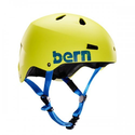 BERN Macon Summer Distress Logo EPS Matte Helmet (Neon Yellow , Large)