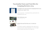 Top Quality Tents and Tent Kits for Camping Reviews 2014