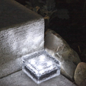 "4"" x 4"" Frosted Glass Solar Brick Paver Light with 4 LEDs - Cool White: Patio, Lawn & Garden"