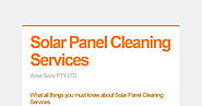 What all things you must know about Solar Panel Cleaning Services
