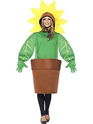 Sunflower Fancy Dress Costume Adult, Top with Attached Hood|FancyPanda