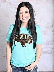 Blue Leopard Buffalo Tee | Southern Honey Boutique