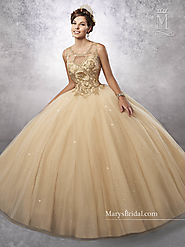 Marys Quinceanera Dresses | Style - 4Q496 in Gold, Pink, Wine, or White Color
