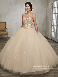 Marys Quinceanera Dresses | Style - 4Q511 in Champagne, Wine, White, Aqua Color