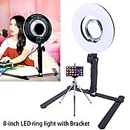 8-inch LED Selfie Ring Light for Phone Video Shooting Makeup YouTube Vine Portrait Photography with Stand Mirror Tabl...