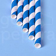 Blue Stripe Paper Straws | Biodegradable Straws | Go Pepara