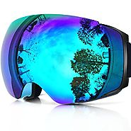 Zionor X4 Ski Snowboard Snow Goggles Magnet Dual Layers Lens Spherical Design Anti-Fog UV Protection Anti-Slip Strap ...