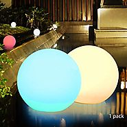 Obell 12-inches LED Solar Floating Ball Lights 10 RGB Color Changing Mood Light Outdoor Waterproof Float Globe Lights...
