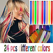 24 pcs Straight Colored Clip in Hair Extensions Fashion Hairpieces for Party or Performance Highlight Multiple Colors...