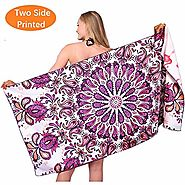 Purple Microfiber Beach Towel Blanket Quick Fast Dry Super Absorbent Lightweight Thin Towels for Travel Pool Swimming...