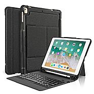 CoastaCloud New 2018 iPad 9.7 Keyboard Case with Pencil Holder, Detachable Bluetooth Keyboard with Shockproof Heavy D...