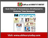 GET THE BEST ASSISTANCE FOR BOOKING HINDUSTAN TIMES OBITUARY ADS