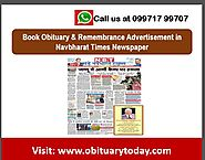 QUICKLY MAKE BOOKINGS FOR OBITUARY AD IN NAVBHARAT TIMES FOR DELHI HERE!