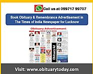 Book Obituary Ad in Times of India Newspaper at cost-effective rates