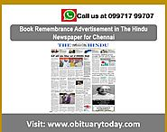TO BOOK THE HINDU CHENNAI REMEMBRANCE ADS VISIT US