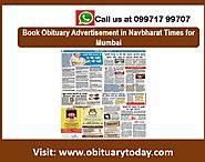 NAVBHARAT TIMES OBITUARY ADS FOR MUMBAI CAN BE INSTANTLY BOOKED THROUGH OUR CHANNEL