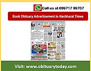 HERE YOU CAN INSTANTLY MAKE NAVBHARAT TIMES DELHI OBITUARY AD BOOKING ONLINE