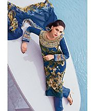 Tangerines Multi Colour Lawn Cotton Embroidered Salwar Kameez Suit Unstitched Dress Material-Amber8321B
