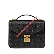 MCM Medium Patricia Visetos Satchel In Black
