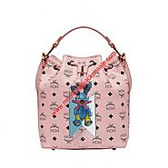 MCM Small Visetos Stripe Rabbit Drawstring Bag In Light Pink