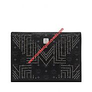 MCM Large Visetos Gunta M Studs Zip Clutch In Black