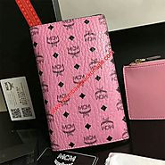 MCM Large Visetos Original Passport Holder In Pink