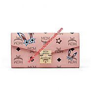MCM Large Patricia Star Eyed Bunny Visetos Crossbody Wallet In Light Pink