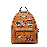 MCM Medium Stark Victory Patch Visetos Backpack In Brown