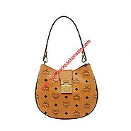 MCM Small Patricia Visetos Hobo In Brown