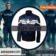Men's The Winter Soldier Steve Rogers Costume Blue Faux Leather Jacket