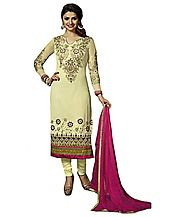 Sinina Fashions Cream Georgette Embroidered Salwar Kameez Suit Semi Stitched Dress Material-126Tangy2223