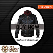 HOODED BOMBER BIKER LEATHER JACKET