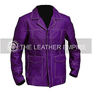 BRAD PITT FIGHT CLUB PURPLE Leather Jacket - JRZ 1253 - TheLeatherEmpire