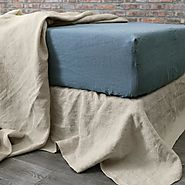 Linen Fitted Sheet French Blue