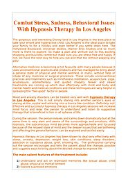 Combat Stress, Sadness, Behavioral Issues With Hypnosis Therapy In Los Angeles