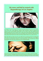 De-stress and feel in control with Hypnotherapy in Los Angeles