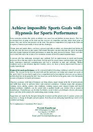 Achieve impossible Sports Goals with Hypnosis for Sports Performance