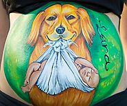 Belly painting: Dog with baby