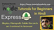 Node js Tutorials for beginners in Hindi | Display Database Records using EJS View Engine