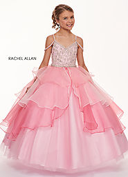 V-Neck Ball Gowns Little Girl Pageant Dresses in Pink Color | Style - 1721