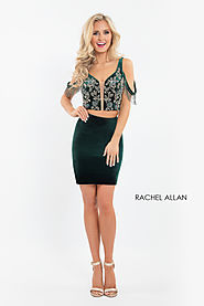 Off The Shoulder Fitted Mini Homecoming Dresses in Emerald Color | Style - 4591