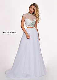 High Neckline A-Line Prom Dresses in White Color | Style - 6403