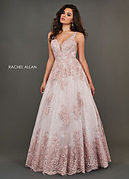 V-Neck A-Line Couture Dresses in Pink Color | Style - 8375