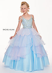V-Neck Ball Gowns Little Girl Pageant Dresses in Turquoise Color | Style - 1721