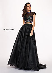 High Neckline A-Line Prom Dresses in Black Color | Style - 6403