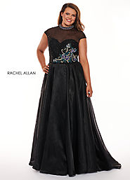High Neckline A-Line Curves Dresses in Black Color | Style - 6661