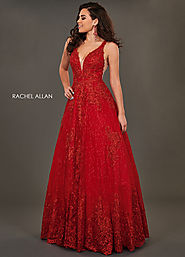 V-Neck A-Line Couture Dresses in Red Color | Style - 8375